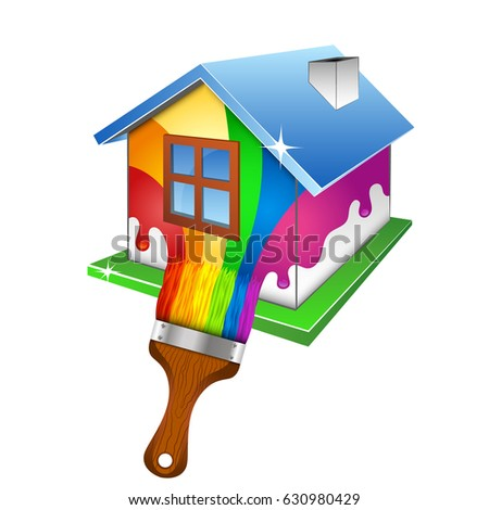 Painting A House Design For Business. House And Brush With Paint.