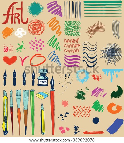 Painting and drawing tools. Pen and paint brushes set with different texture. - stock vector