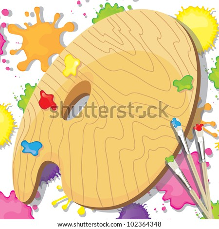 Painting art and crafts party invitation. Bright and colorful paint splotches with painter's palette and paint brushes with room for your type. - stock vector