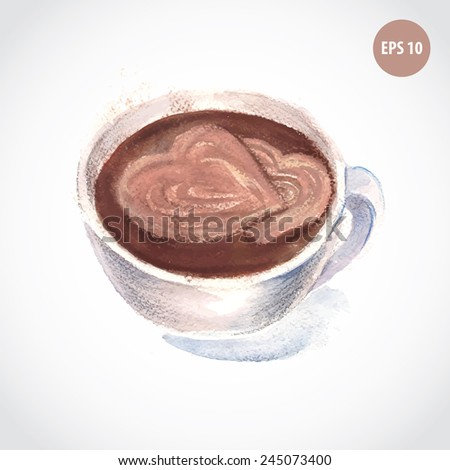 painting cappuccino cup, espresso cup, coffee with hearts - stock vector