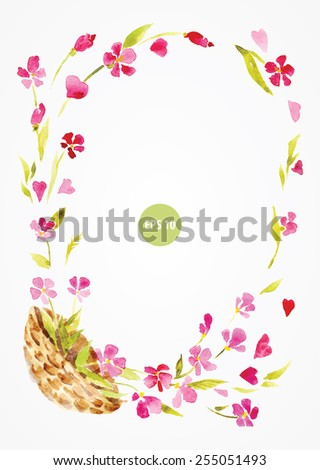 painting frame, by flowers. with basket, wicker