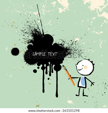 Painting kid, little artist with brush and paint, black ink splash, splatter, on colored grunge background.  - stock vector