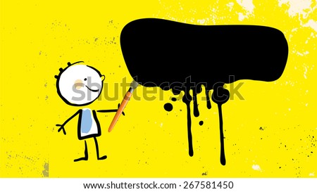 Painting kid, little artist with brush and paint, black ink splash, splatter, on yellow colored grunge background. Educational vector illustration. - stock vector