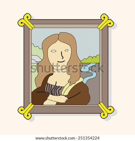 painting mona lisa theme elements vector - stock vector