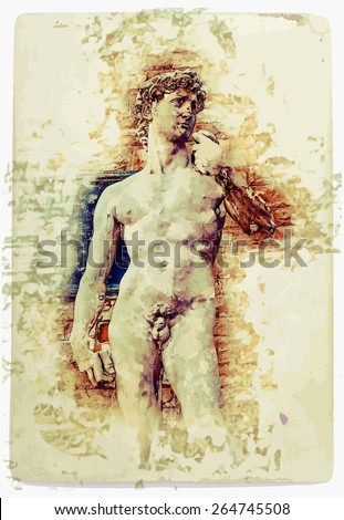 Painting of David of Michelangelo, vintage postcard background for Italy, Florence - stock vector