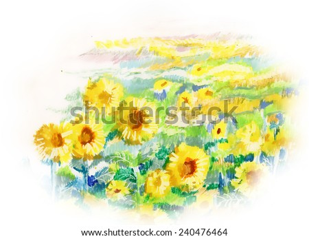 Painting of sunflowers on white background vector illustration - stock vector