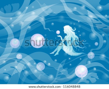 painting of the underwater world with a girl - stock vector