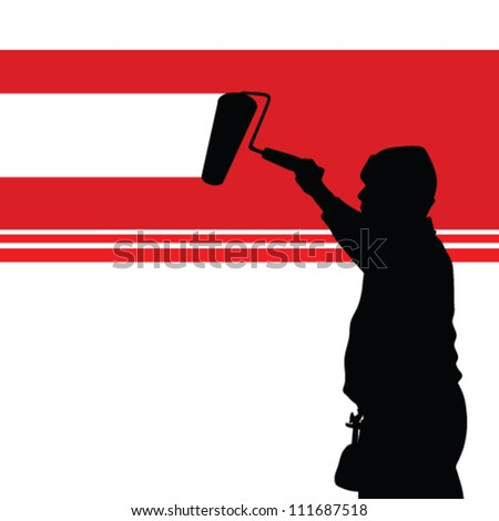 painting red wall illustration and worker black silhouette
