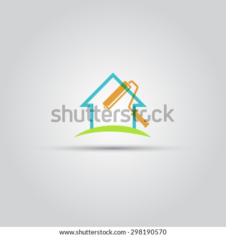 Painting services abstract silhouette isolated logo, house and paint roller  - stock vector