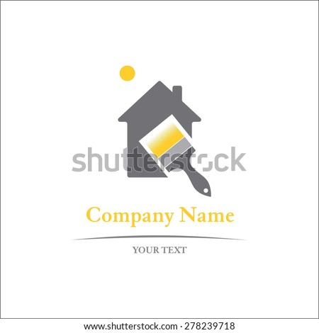 Painting sign for company name - stock vector