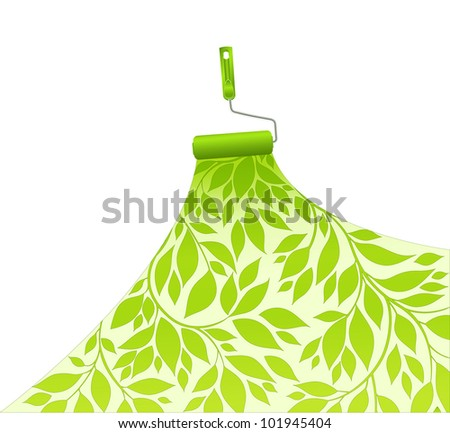 painting surface green pattern floral - stock vector
