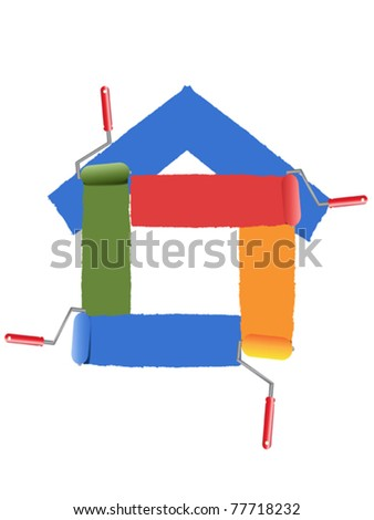painting the symbol of home - stock vector