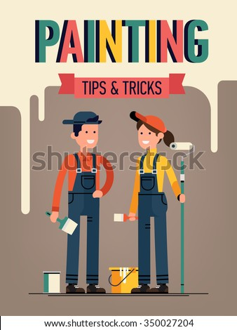 Painting tips and tricks concept creative background with young adult couple of workers holding painting equipment. Ideal for home decor tutorials, DIY project guides, web sites and blogs.  - stock vector
