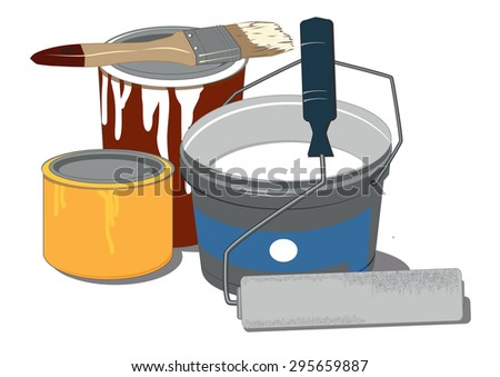 painting tools and paint cans on white background