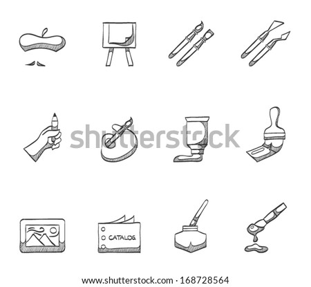 Painting tools icons in sketches - stock vector