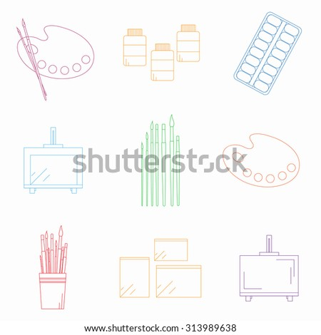 Painting tools set. Linear icons. Palette, paint brushes, easel, sketchbook and paper, moist colors, artist paints. - stock vector