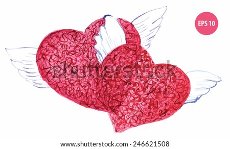painting two hearts with wings for valentine's day, falling in love - stock vector