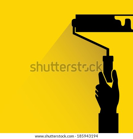 painting wall, roller brush on yellow background, flat and shadow style - stock vector