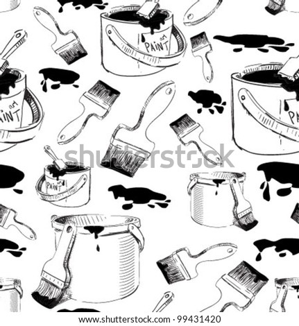 Paints and brushes seamless pattern. Hand drawing sketch vector background - stock vector