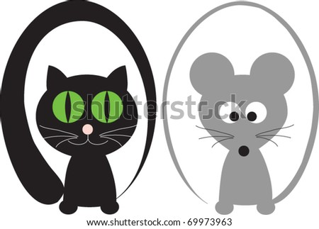 pair cat and mouse for the decoration of wares for children