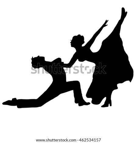 pair dancing isolated on white background. she and he