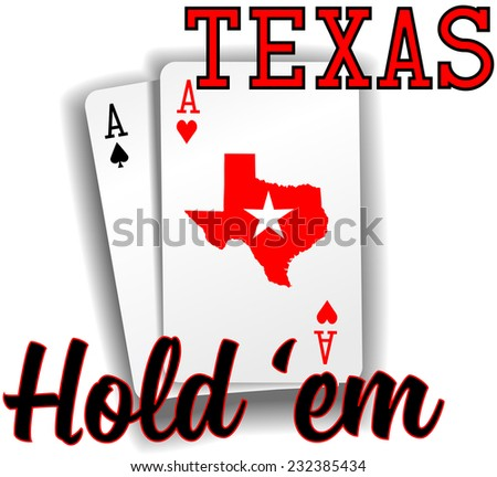 Pair of aces as Texas Hold em winning poker hand cards - stock vector