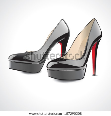 pair of black high-heeled shoes - stock vector