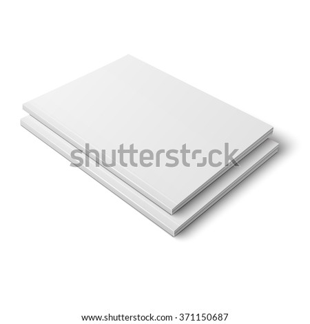 Pair of blank template of thick closed magazine on white background. Vector illustration. Ready for your design.