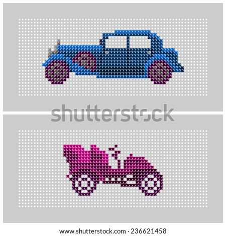pair of colorful old timer cars - cross stitch - stock vector