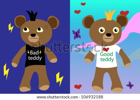 Pair of good and bad teddy bears - stock vector