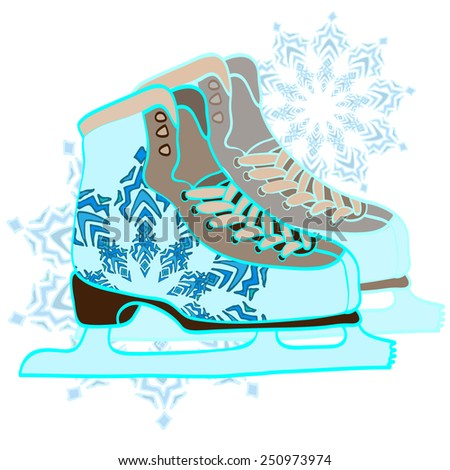 Pair of hand drawn ice skates with snowflake drawing and abstract background. Vector illustration. - stock vector