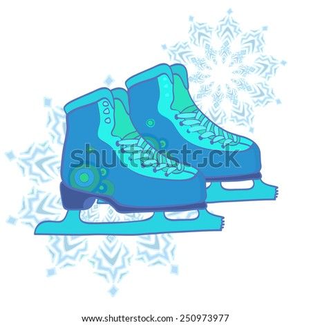 Pair of hand drawn ice skates with snowflake drawing and abstract background. Vector illustration.