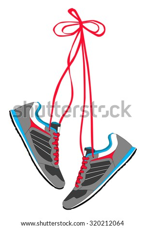 Pair of Hanging Sneakers - Vector - stock vector