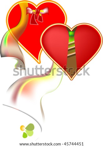 pair of hearts, symbolizing a man and woman - stock vector