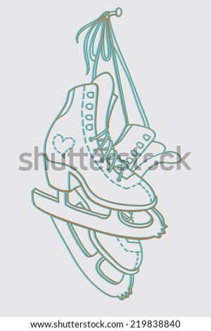 Pair of ice skates hanging on the nail. Drawing. Vector illustration - stock vector