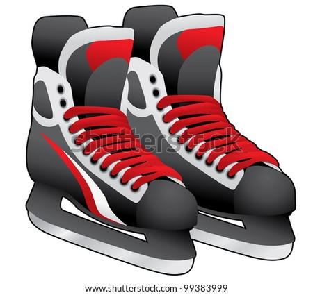 pair of ice skates on white background