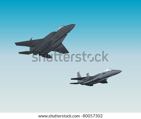Pair of jet fighters - stock vector