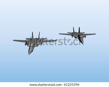 Pair of jet fighters vector - stock vector