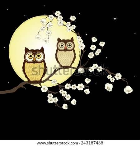 Pair of owls on branch in night - stock vector