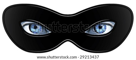 Pair of photorealistic woman's eyes behind a black mask. - stock vector