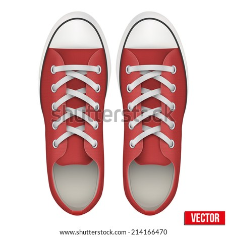 Pair of red simple sneakers. Example gumshoes. Realistic Editable Vector Illustration isolated on white background. - stock vector