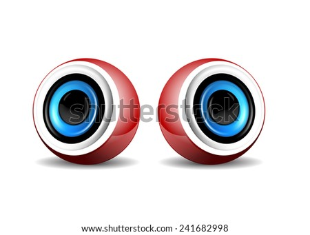 Pair of red speaker - stock vector