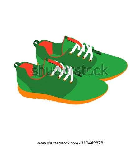 Pair of running shoes on a white background - stock vector