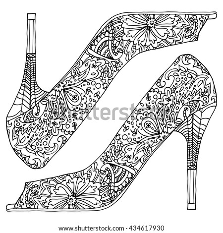 pair of shoes. Shoes with Paisley. Black and white line art ethnic design. Adult coloring book. Vintage decorative element. Islam, Arabic, Indian, turkish, pakistan, chinese, ottoman motifs. - stock vector