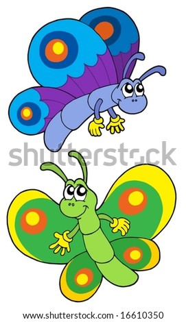 Pair of smiling butterflies - vector illustration.
