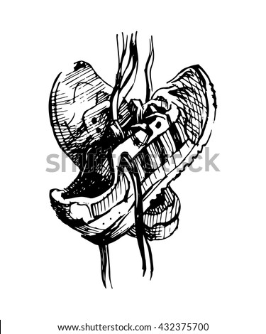 Pair of sneakers on white background drawn in a sketch style. Sneakers hanging on a peg. Vector illustration. - stock vector