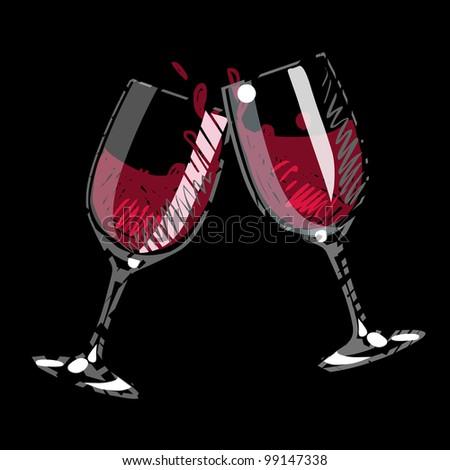 pair of splashing wine glass - stock vector