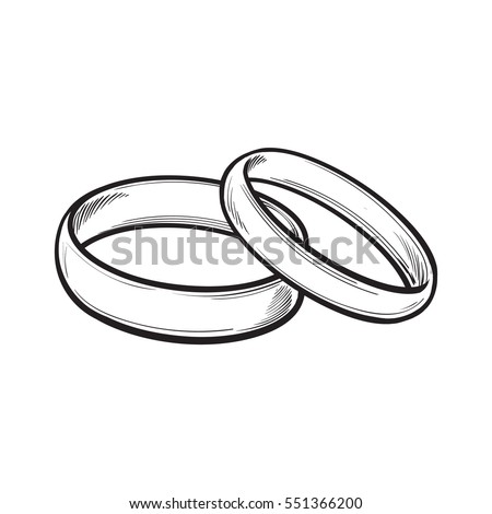 Pair Traditional Golden Wedding Rings Sketch Stock Vector 551366200