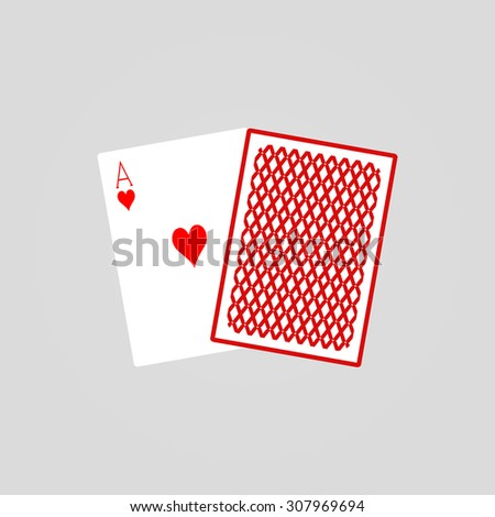 Pair of two poker cards illustration. Vector ace card, casino symbol - stock vector