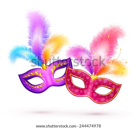 Pair of vector bright carnival masks with colorful feathers - stock vector